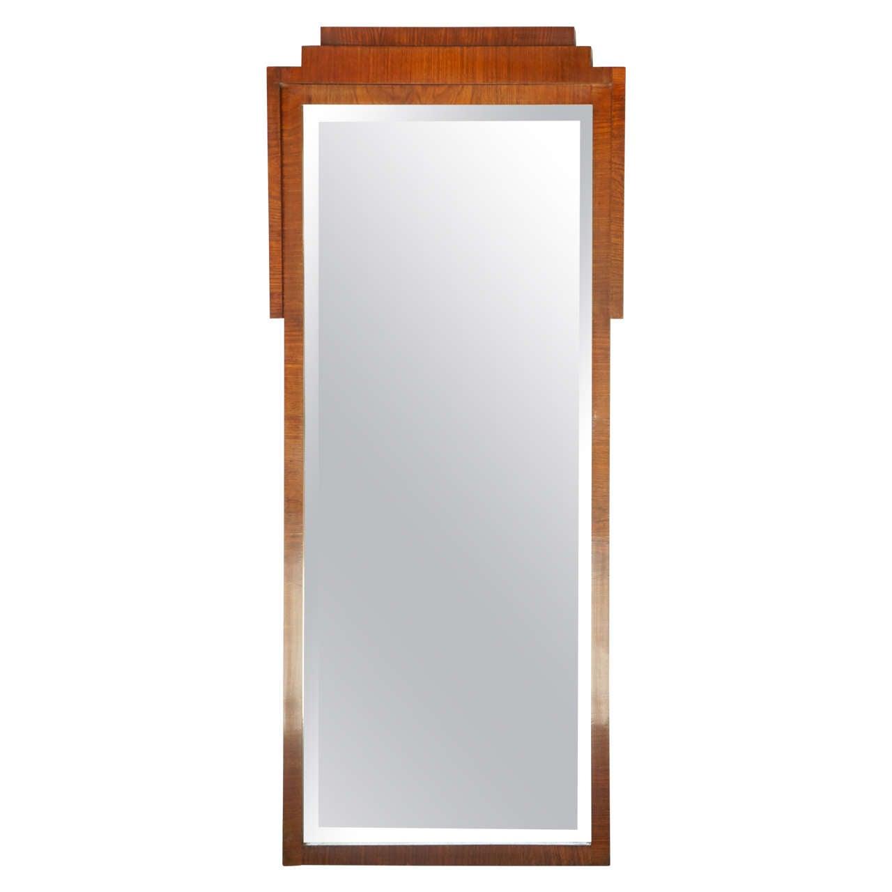 Period Walnut French Art Deco Pier Mirror