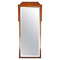 Period Walnut French Art Deco Pier Mirror