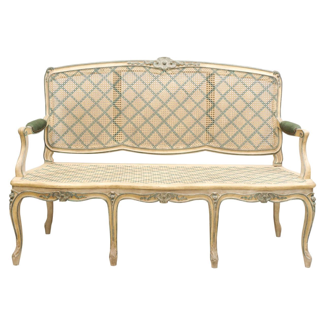 Early 20th Century Louis XV Style Finely Carved Wood and Caned Settee