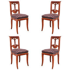 Set of Four Viennese Walnut Chairs, circa 1840