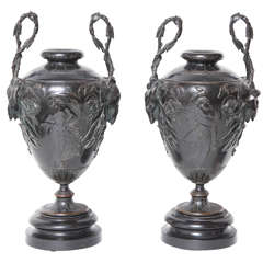 Pair of Late 19th Century French Bronze Urns on Marble Base