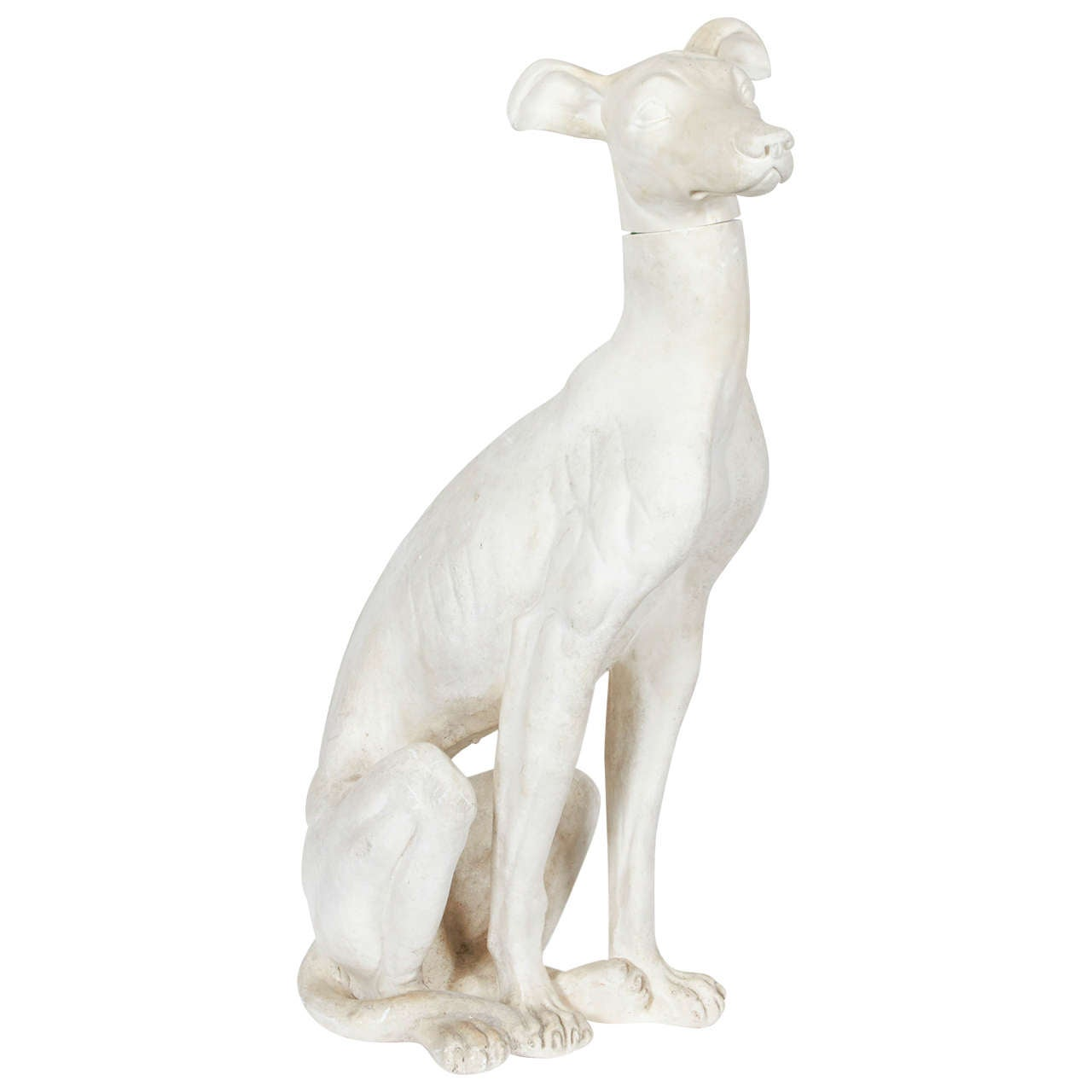 Vintage Plaster Whippet Dog Sculpture