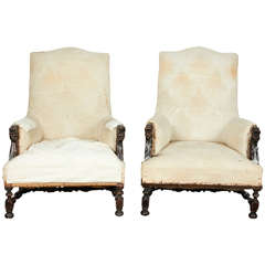 19th Century Unfinished Carved Walnut Armchairs