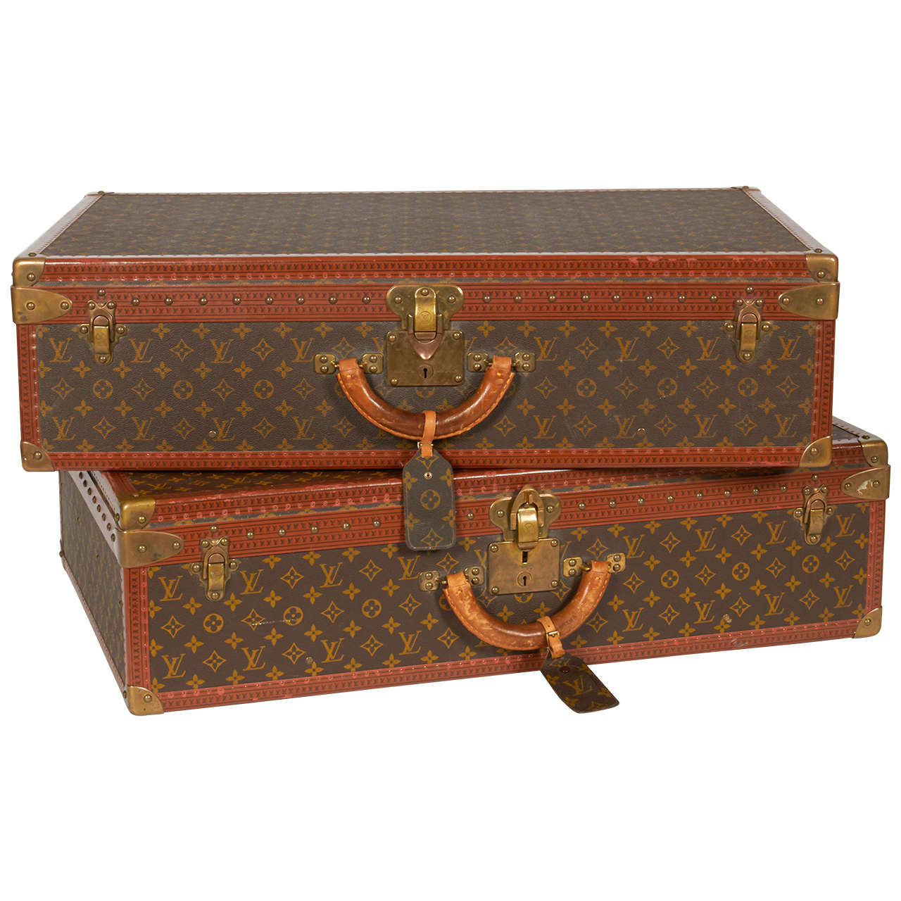 Pair of Vintage Louis Vuitton Alzer Suitcase Trunks at 1stdibs