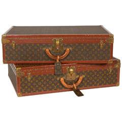 Pair of Vintage Louis Vuitton Alzer Suitcase Trunks