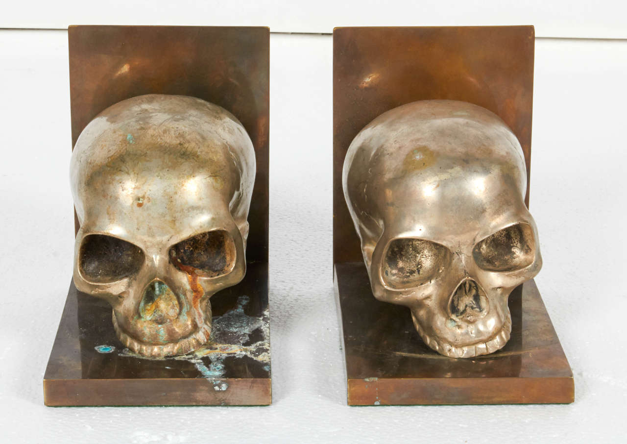 Bronze And Silver Skull Bookends For Sale At 1stdibs
