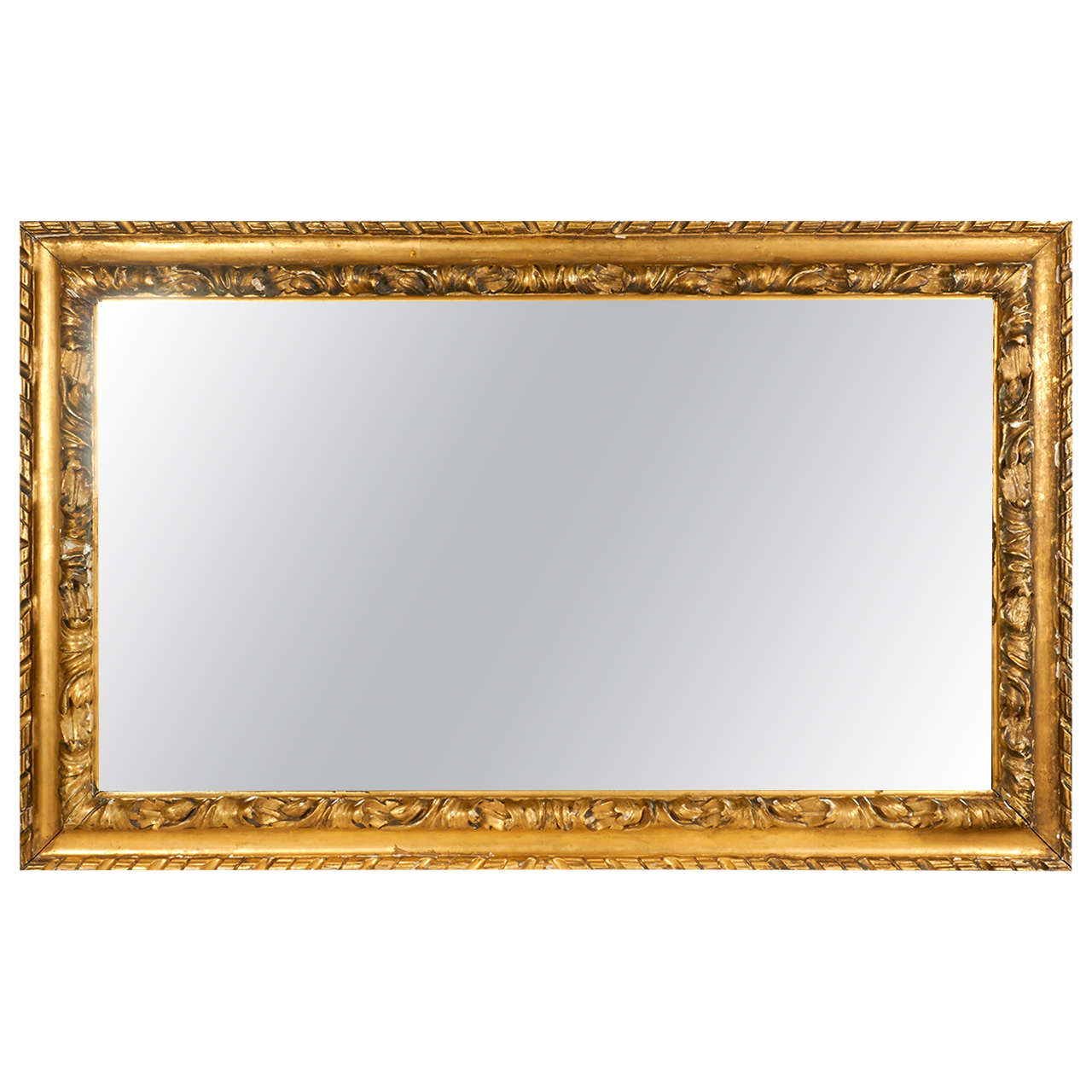 Very Large 19th Century Gilt Plaster Frame Patina Mirror by M. and B ...