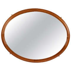 19th Century, English Polished Oak Oval Mirror