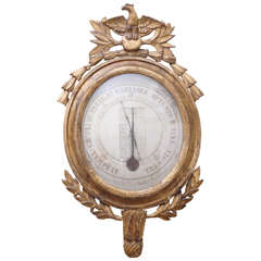 Louis XVI Style Carved Giltwood Thermometer and Barometer
