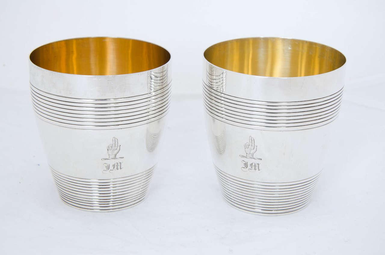 Mid-19th Century Antique Silver William IV Barrel Beakers For Sale