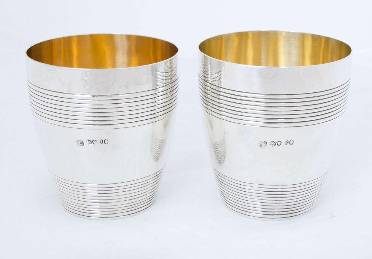 Antique Silver William IV Barrel Beakers For Sale 4