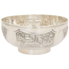 Chinese Export Silver Bowl with Floral and Figural Decoration