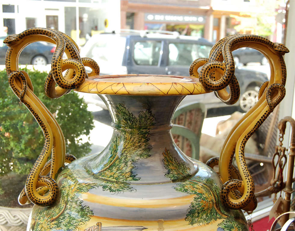 Italian Grand Tour Majolica Urn With Heroic Scenes And Serpent At 1stdibs