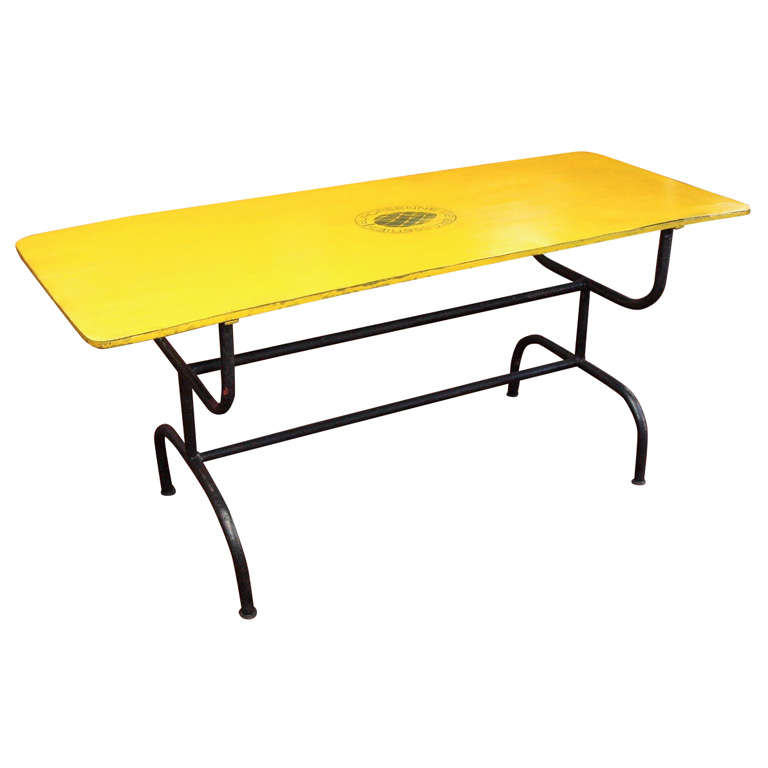 High Style Mid Century Swiss Painted Metal Table At 1stdibs