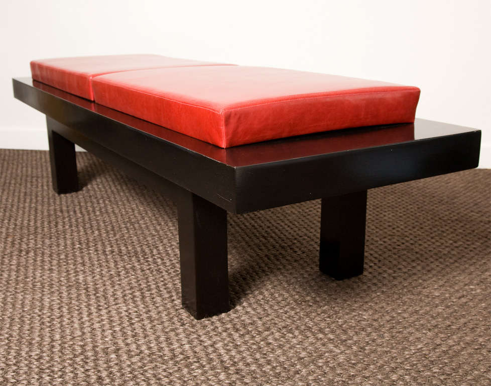 Vintage Modern Bench With Red Leather Upholstery At 1stdibs