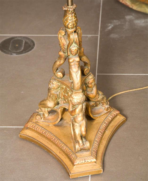 Gold Leaf Wooden Floor Lamp 2