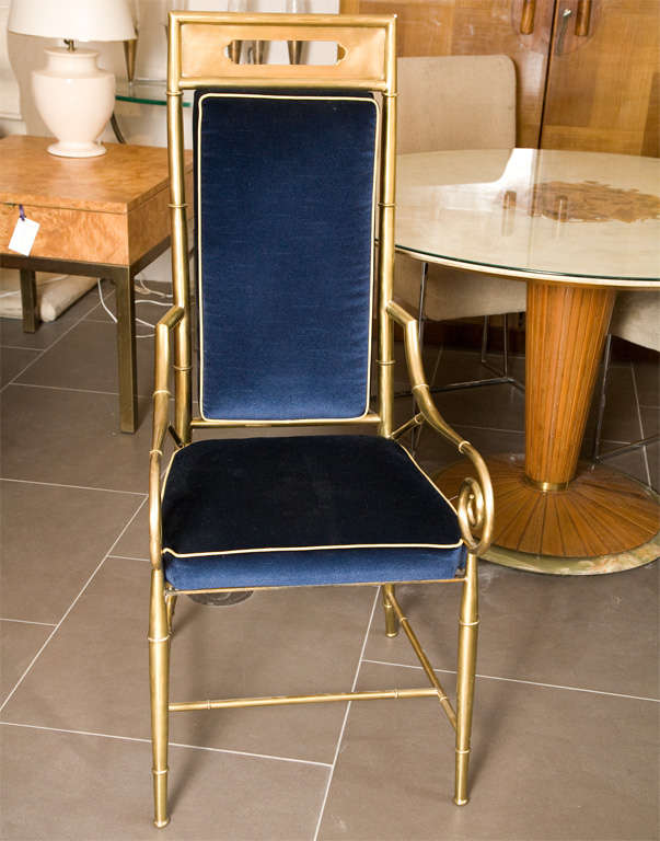 Set of 6 Mastercraft Faux Bamboo Brass Dining Chairs. New Blue Velvet Upholstery with contrasting welt