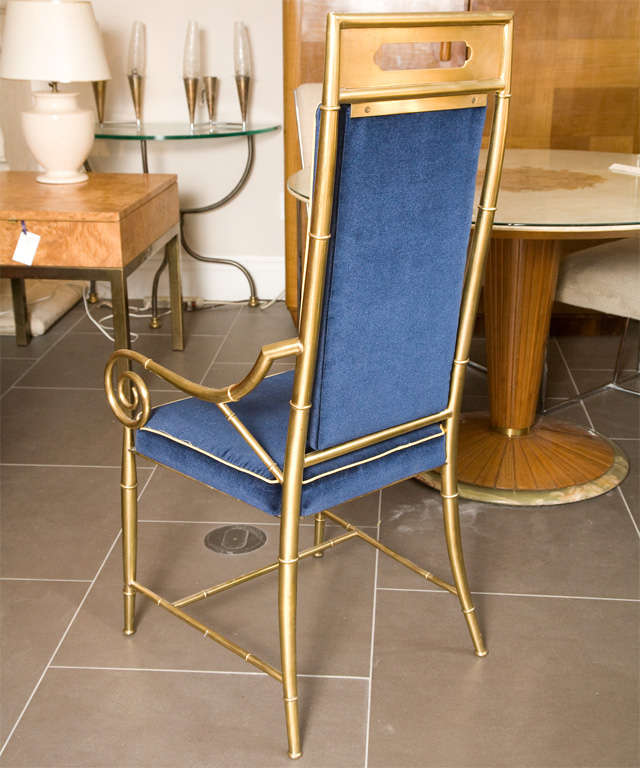 Set of 6 Mastercraft Faux Bamboo Brass Dining Chairs For Sale 1
