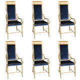 Set of 6 Mastercraft Faux Bamboo Brass Dining Chairs