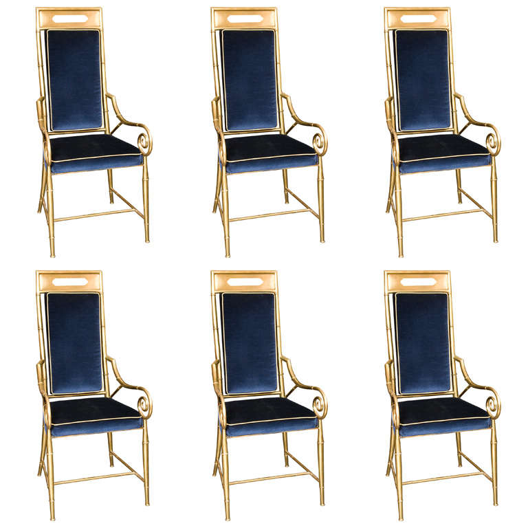 Set of 6 Mastercraft Faux Bamboo Brass Dining Chairs For Sale