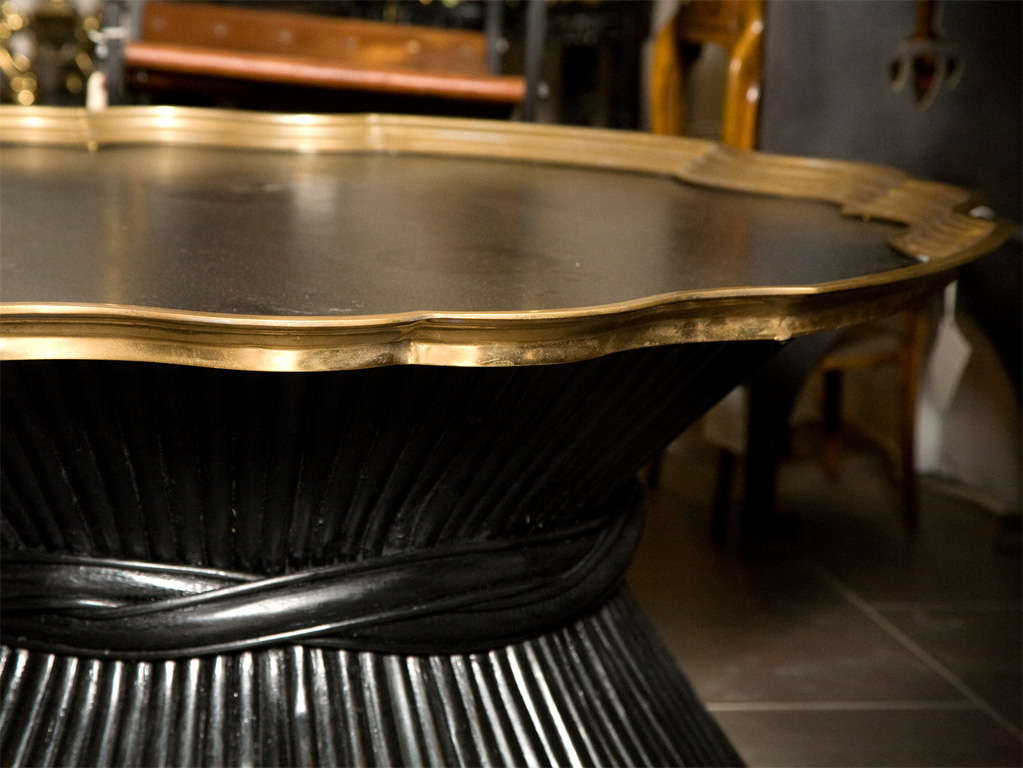 1970's Brass Trimmed Tray-Top Cocktail Table image 5