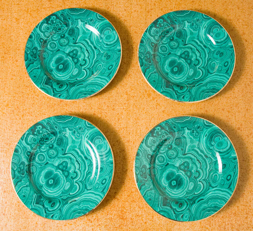 Handsome set of four ceramic malachite plates from Neiman Marcus.  Markings on the back of each plate- great condition- no chips or cracks.  Slight loss of gold around the edges, but they look good.