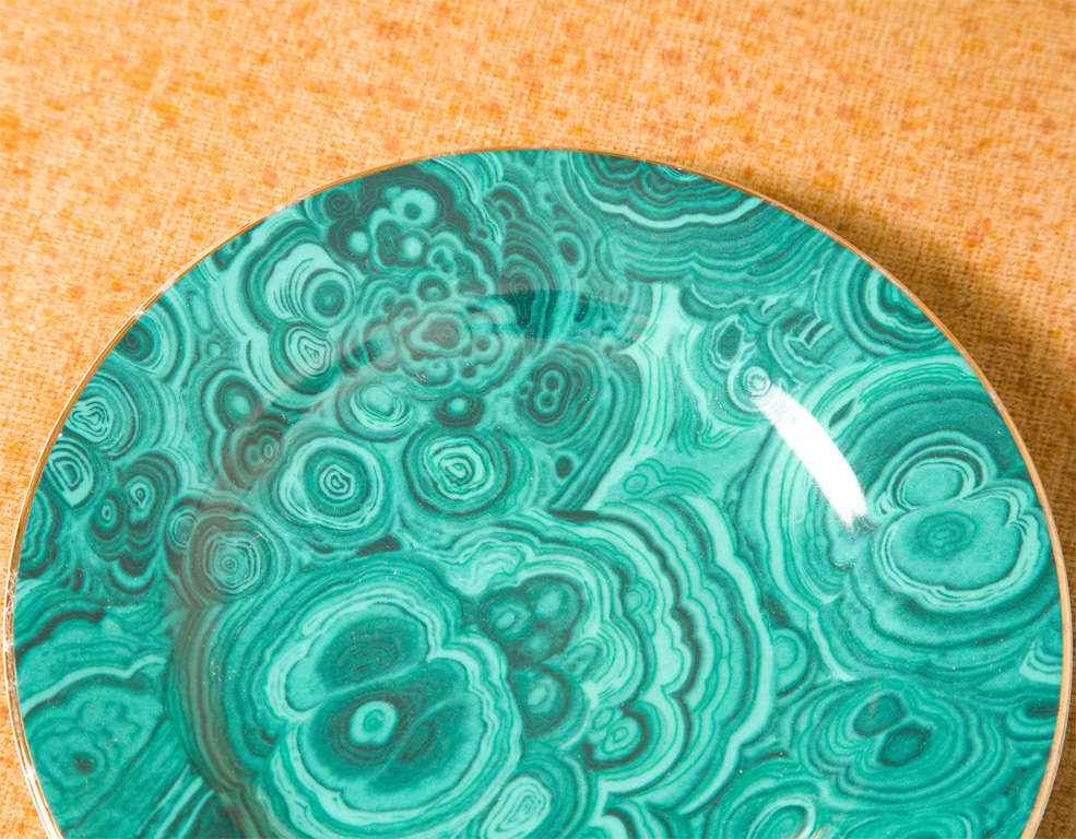Japanese Set of Four Ceramic Malachite Plates from Neiman Marcus For Sale