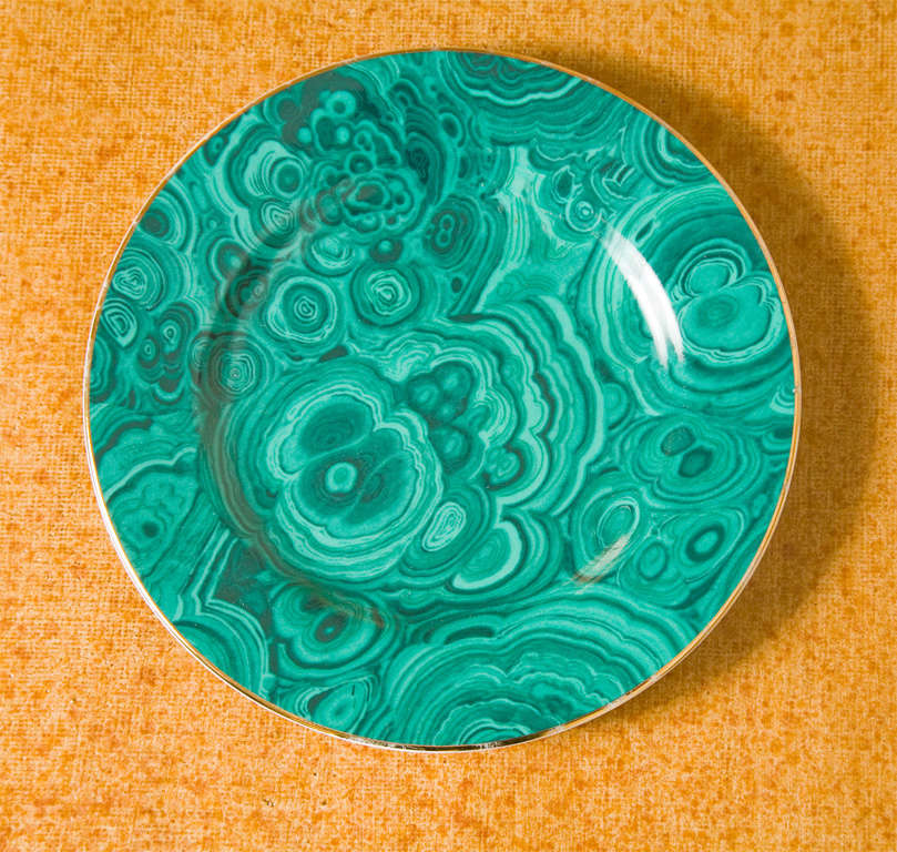 Late 20th Century Set of Four Ceramic Malachite Plates from Neiman Marcus For Sale