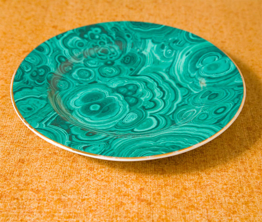 Set of Four Ceramic Malachite Plates from Neiman Marcus For Sale 2
