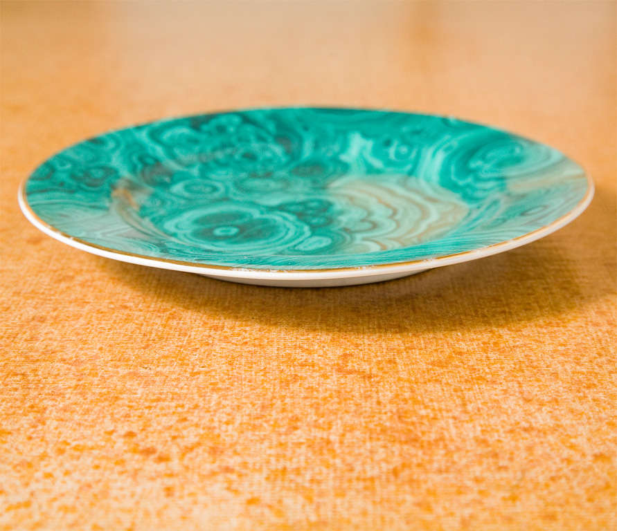 Set of Four Ceramic Malachite Plates from Neiman Marcus For Sale 3