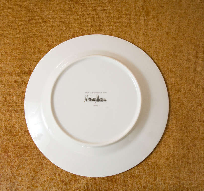 Set of Four Ceramic Malachite Plates from Neiman Marcus For Sale 4
