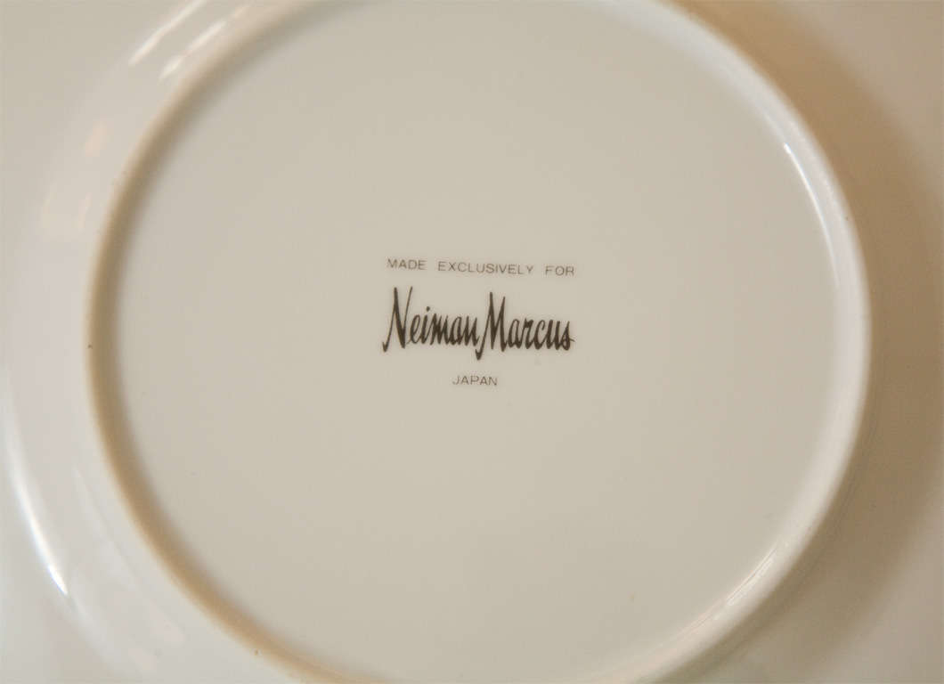 Set of Four Ceramic Malachite Plates from Neiman Marcus For Sale 5
