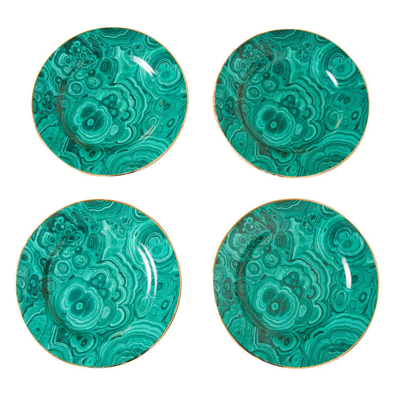 Set of Four Ceramic Malachite Plates from Neiman Marcus For Sale