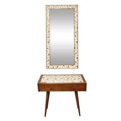 Mid-Century Modern Tiled Console With Mirror By Hohenberg