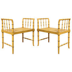 A Pair of Faux-Bamboo Regency Style Open Window Seats