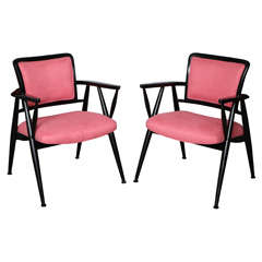 A Pair Of Italian Lacquered Arm Chairs