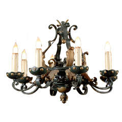 Old French Iron Chandelier with 8 Arms, Circa 1940
