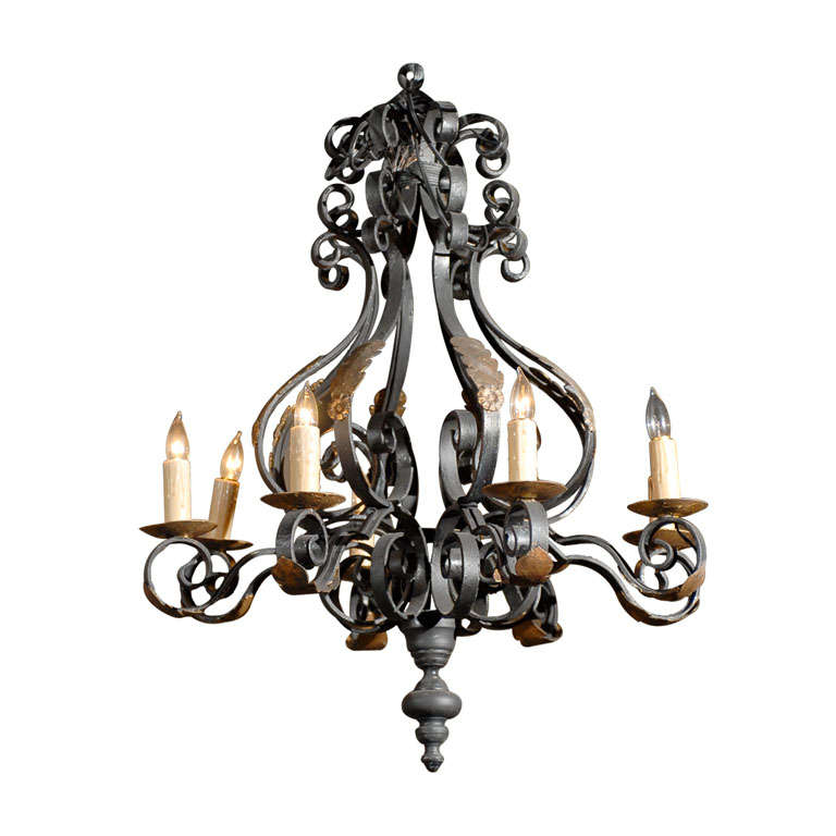 Large Vintage French Black Iron Chandelier Circa 1940 For