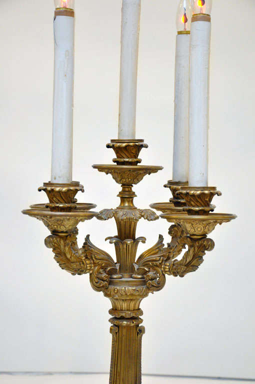 French Monumental Pair of Neoclassical Candelabra Lamps, France, 1880 For Sale