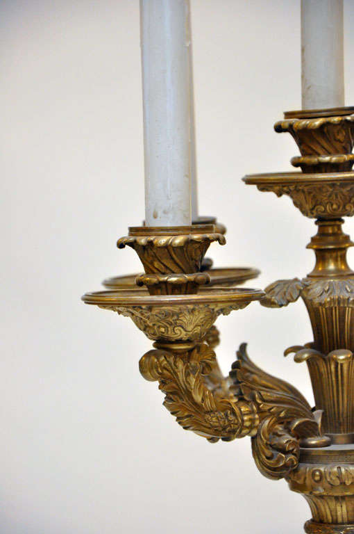 19th Century Monumental Pair of Neoclassical Candelabra Lamps, France, 1880 For Sale