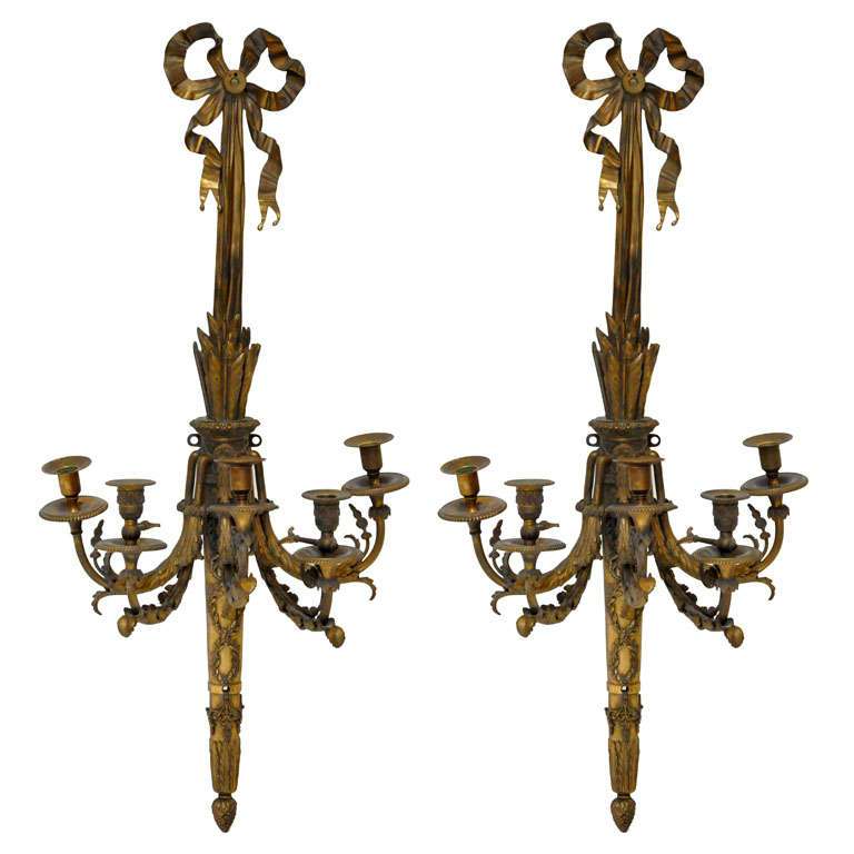 Pair of Monumental French Louis XVI Style Bronze Candle Sconces