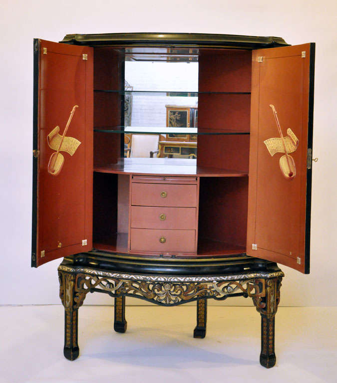 Japanned Chinoiserie Bombay Corner Cabinet Or Dry Bar For Sale 2