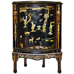Japanned Chinoiserie Bombay Corner Cabinet or Dry Bar