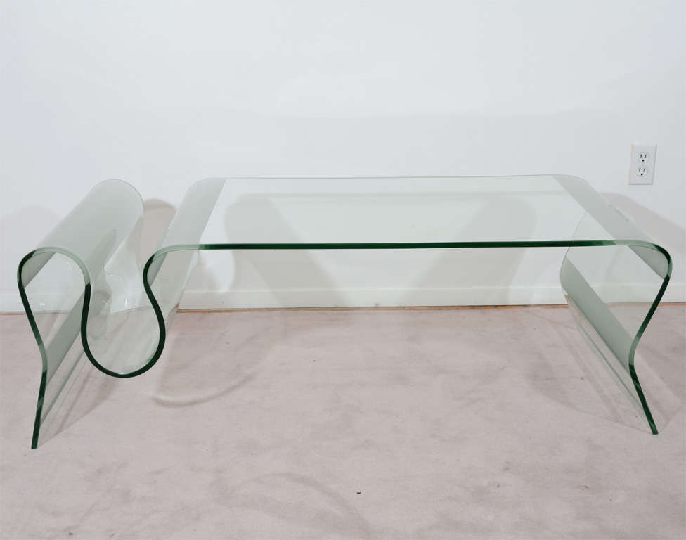 Mid Century Curving Glass Coffee Table with Frosted Accents at 1stdibs