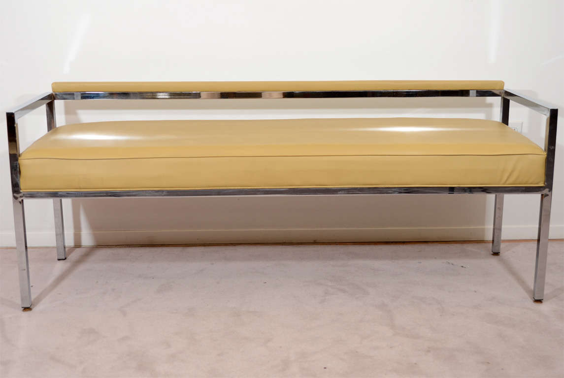 Mid Century Vinyl And Chrome Bench By Milo Baughman At 1stdibs