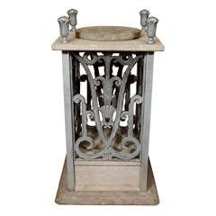 Art Deco Pedestal with Floral Detailing by Edgar Brandt