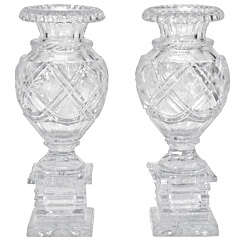 Pair of 19th C. Anglo-Irish Cut Crystal Mantle Vases W/ Square Bases