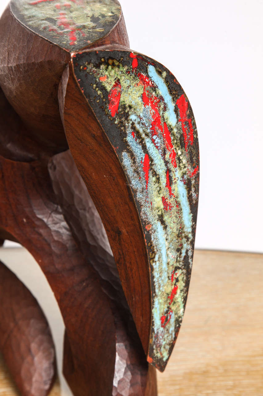 Enameled copper and carved wood bird sculpture at stdibs