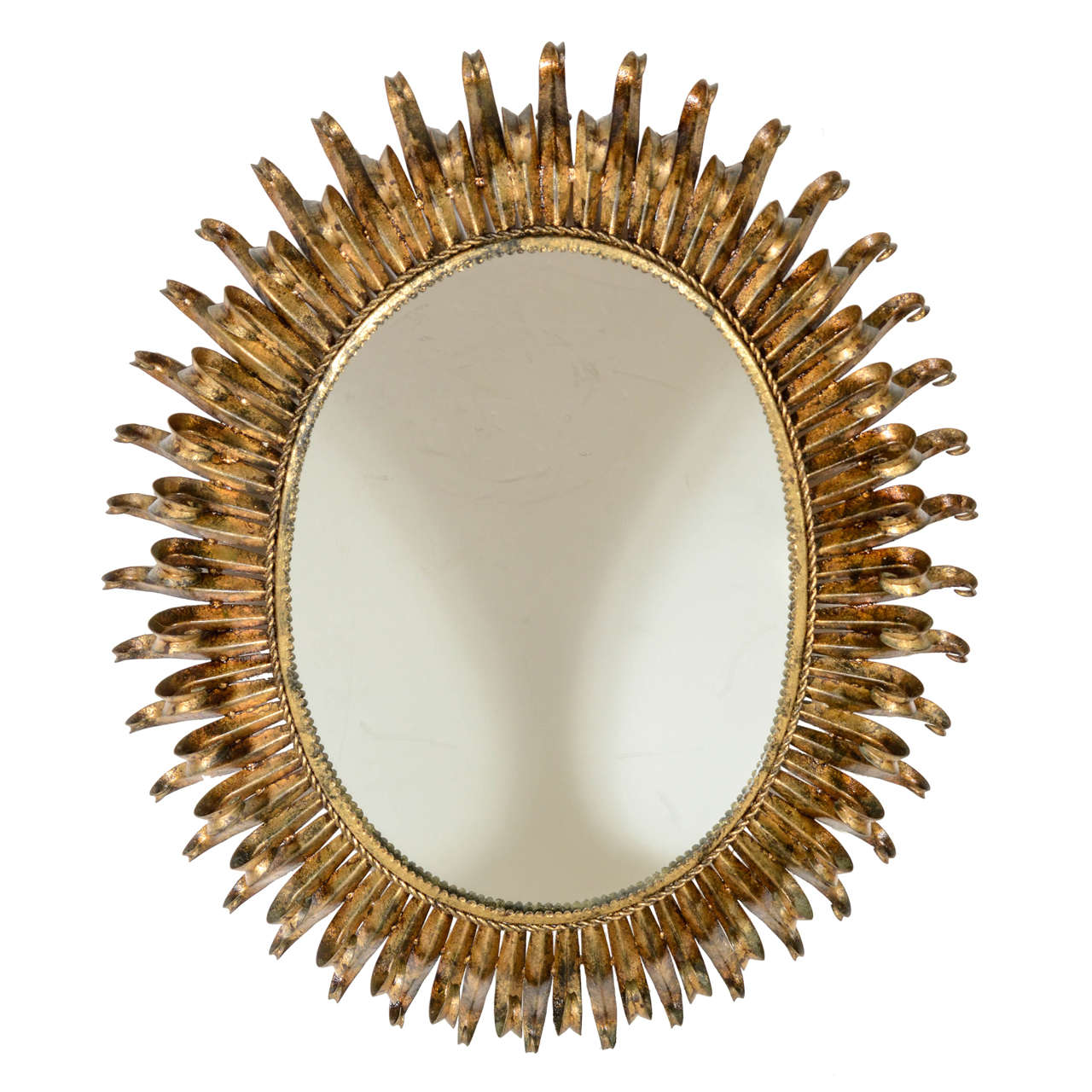 Modernist mid century double ray sunburst gilt metal for Sunburst mirror