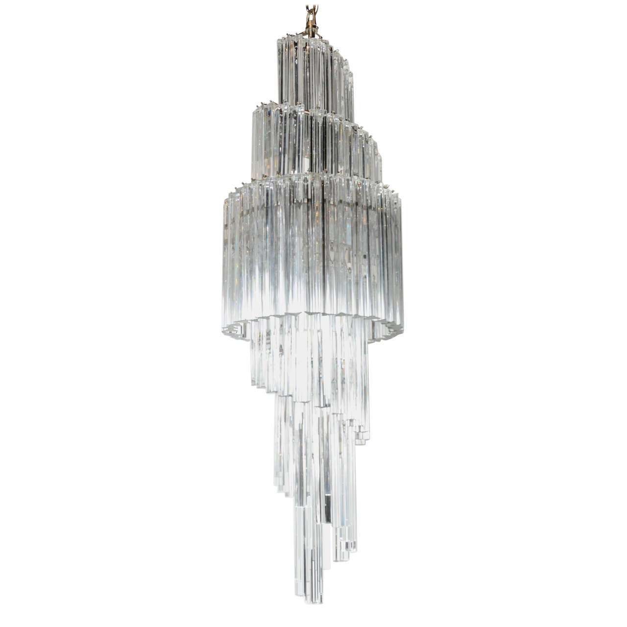 Murano Spiral Chandelier: Spiral Murano Triedre Crystal Chandelier By Camer At 1stdibs